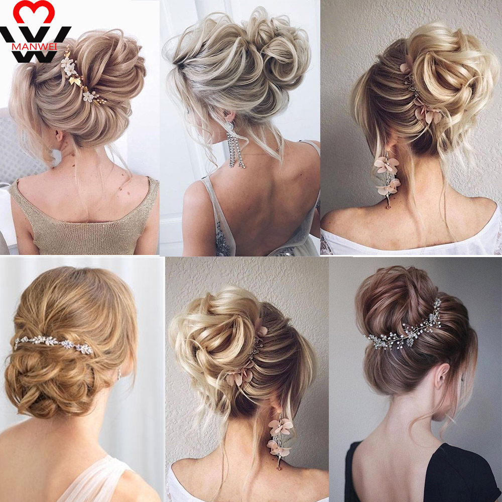 MANWEISynthetic Messy Chignon Donut Gary Brown Color  Hair Bun Pad Elastic Hair Rope Rubber Band Hair Extensions