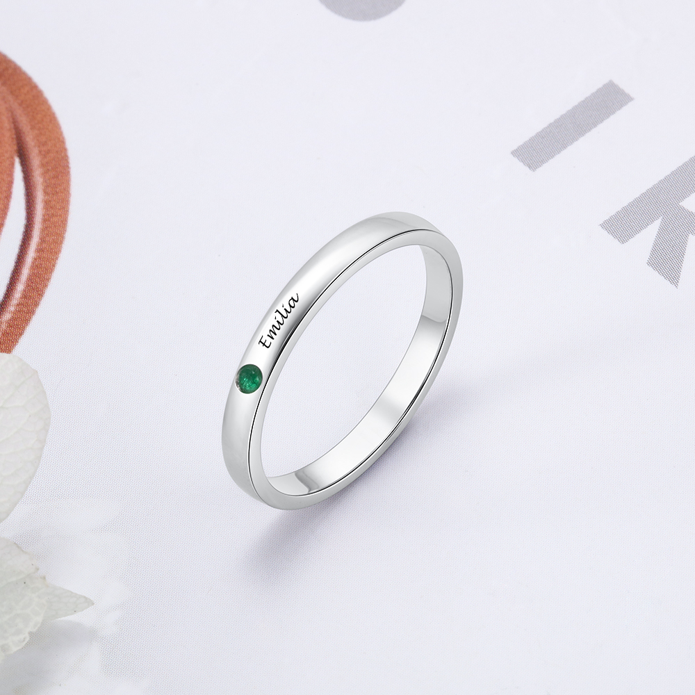 925 Sterling Silver Personalized Engraved Name Rings With DIY Birthstones Finger Rings For Women Jewelry Anniversary Gift