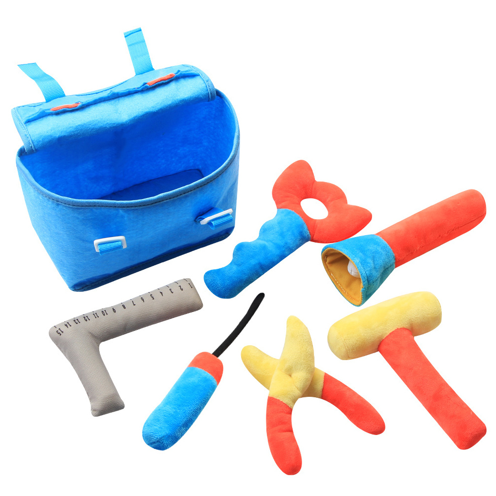 Kids Plush Toys Children's Toolbox Set Baby Fabric Simulation Repair Tool Drill Screwdriver Repair Pretend Play Toys Kids Gifts