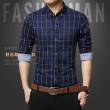 Plaid Shirts Male Clothes Mens Dress Long-Sleeve Chemise Slim White Casual Cotton New