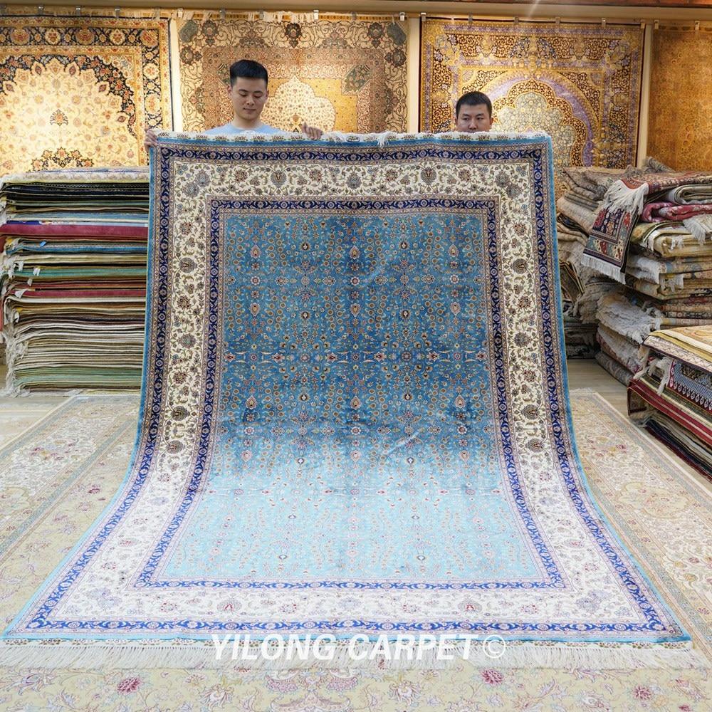 Yilong 6'x9 'Vantage əl düyünlü mavi qonaq otağı xalça ipək - Ev tekstil - Fotoqrafiya 1