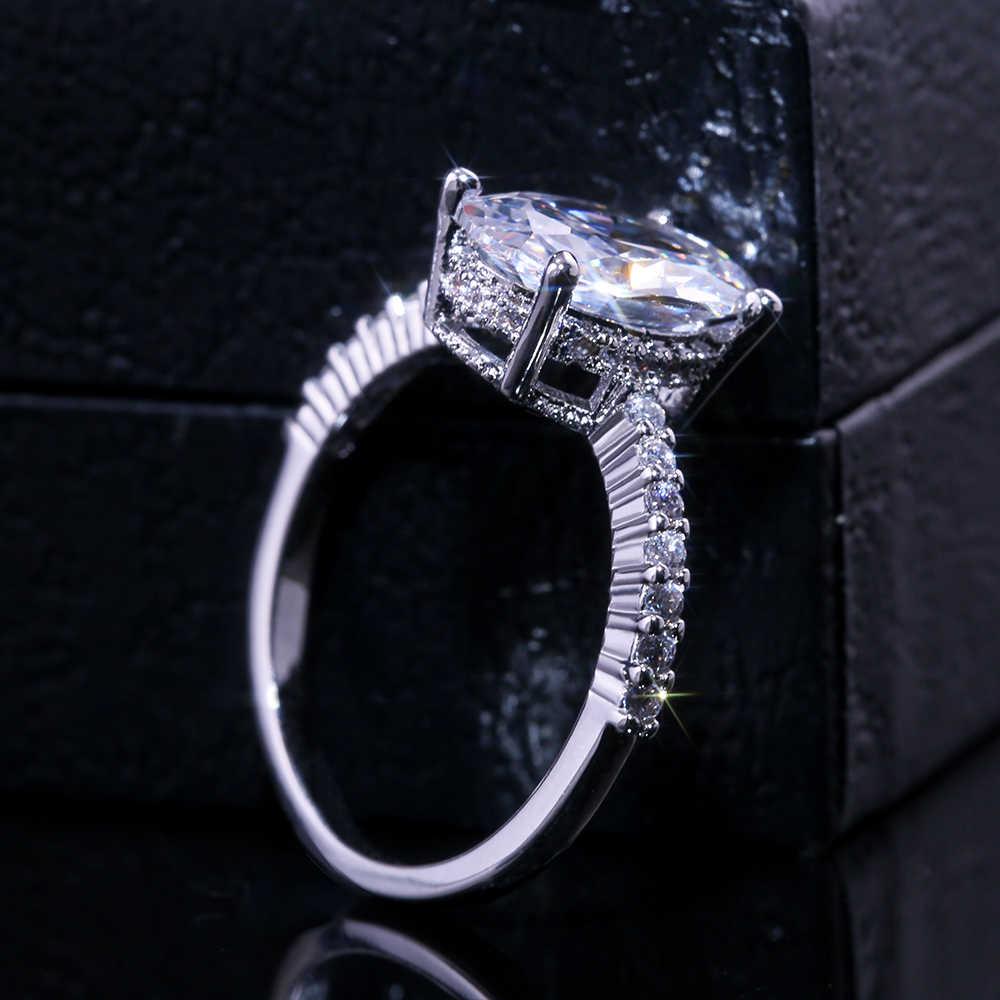Huitan Oval Finger Ring Band Dazzling Brilliant CZ Stein Vier Prong Einstellung Klassische Hochzeitstag Geschenk Für Frau und Freundin