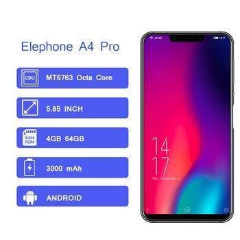 Перейти на Алиэкспресс и купить Elephone A4 Pro смартфон с восьмиядерным процессором MTK6763, восьмиядерным процессором MTK6763, ОЗУ 4 Гб, ПЗУ 64 ГБ, 3000 мАч, 5,85 дюймов, IPS HD, полный экран, моб...