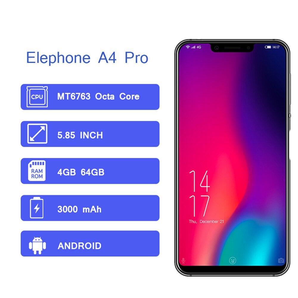Elephone a4 pro 4 gb 64 gb smartphone 4g lte android 8.1 mtk6763 octa núcleo 16mp 3000 mah 5.85 ips ips ips hd tela cheia telefone móvel