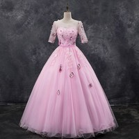 Wedding Celebrity Backless Print Half Dress Sexy Women Pink O Neck Ball Gown Fashion Lace Bohemian Party Dresses Wholesale