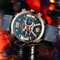 Men Sport Waterproof Casual Leather Wrist Watches for Men Blue Top Brand Luxury Military Clock Fashion Chronograph Wristwathes