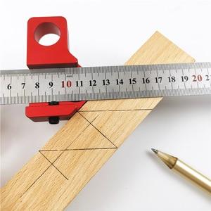 Image 2 - 45 Degree Angle Scribe Carpenter Gauge Universal Steel Ruler Locator Steel Ruler Adjustable Fixed Block Woodworking DIY Tool