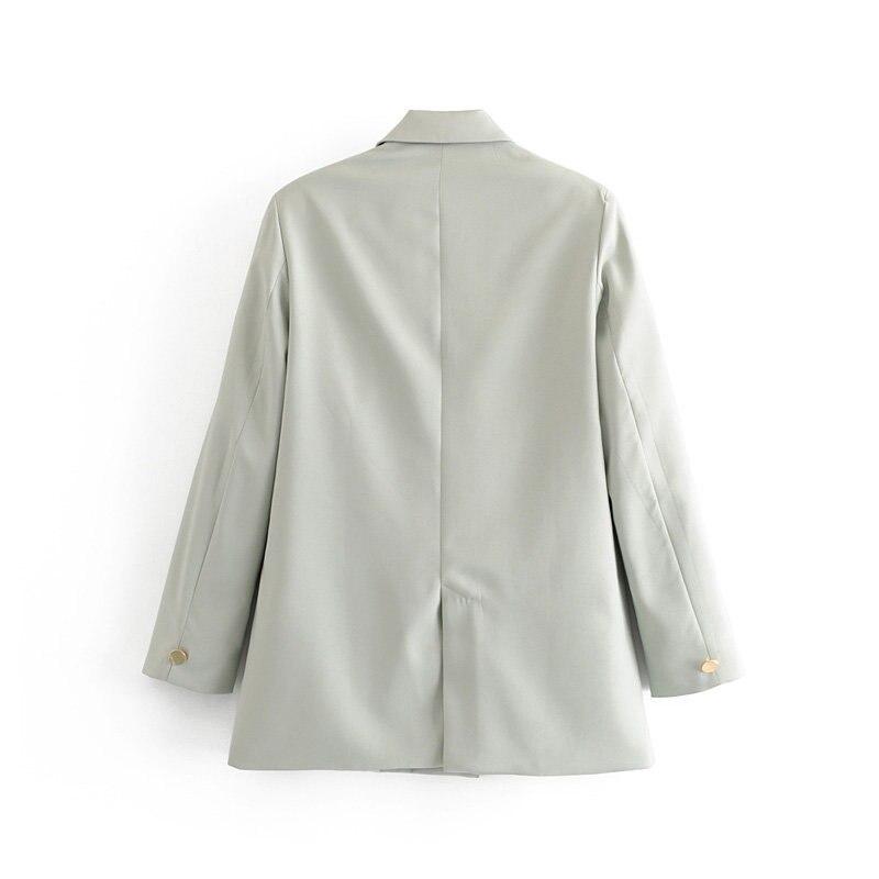 2019 Women Casual Gray Za Blazer Female Solid Vintgae Long Sleeve Blazer For Office Lady Single Button New Blazer Femme Jacket
