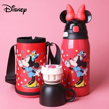 Disney children's double cover mug 304 stainless steel primary school student with straw drop-proof kindergarten baby kettle