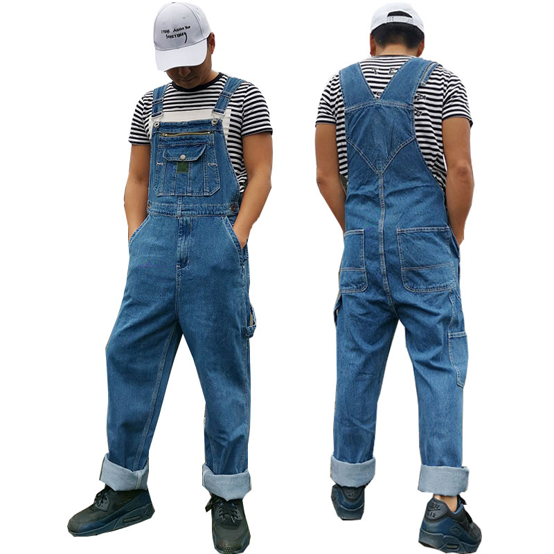 Jeans Men Men's Denim Overalls Men's Overalls Jumpsuit Large Size Strap Straight Pants Blue Jeans Suitable For  Weighing 120kg
