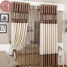 2021European Roman Sheer Luxury Bird Nest Spliced Curtain Linen  for Living Room Kitchen Bedroom