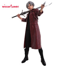 Dante Cosplay Costume Leather Coat Jacket Mens Halloween Out