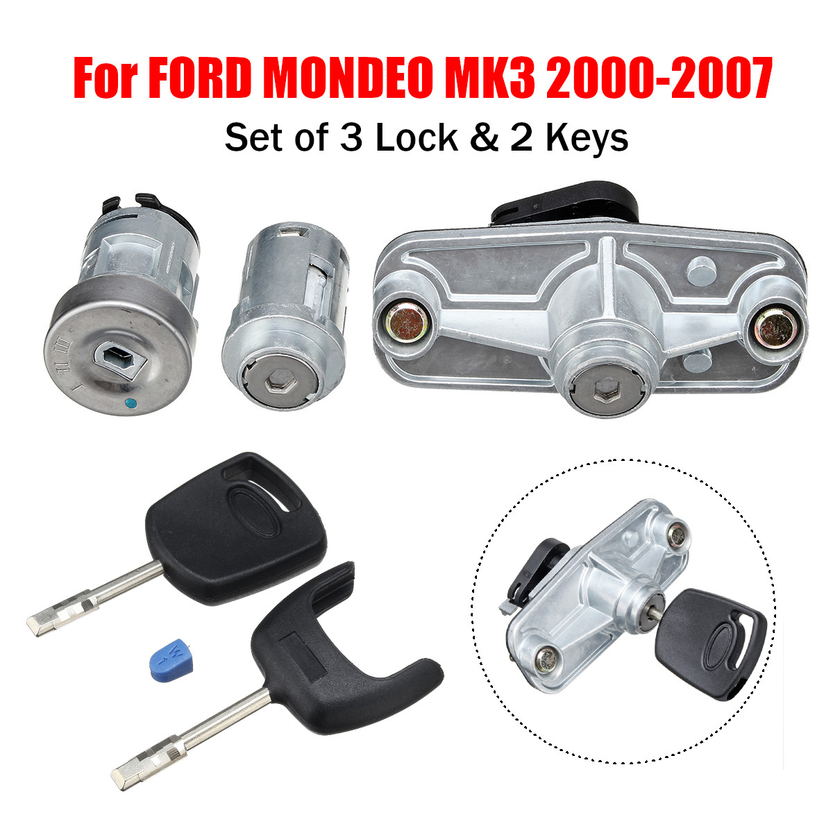 Hot New 1Set Car Door Lock Set Ignition Petrol Cap Cover Rear Trunk Boot Lock Left For FORD For MONDEO MK3 2000 - 2007