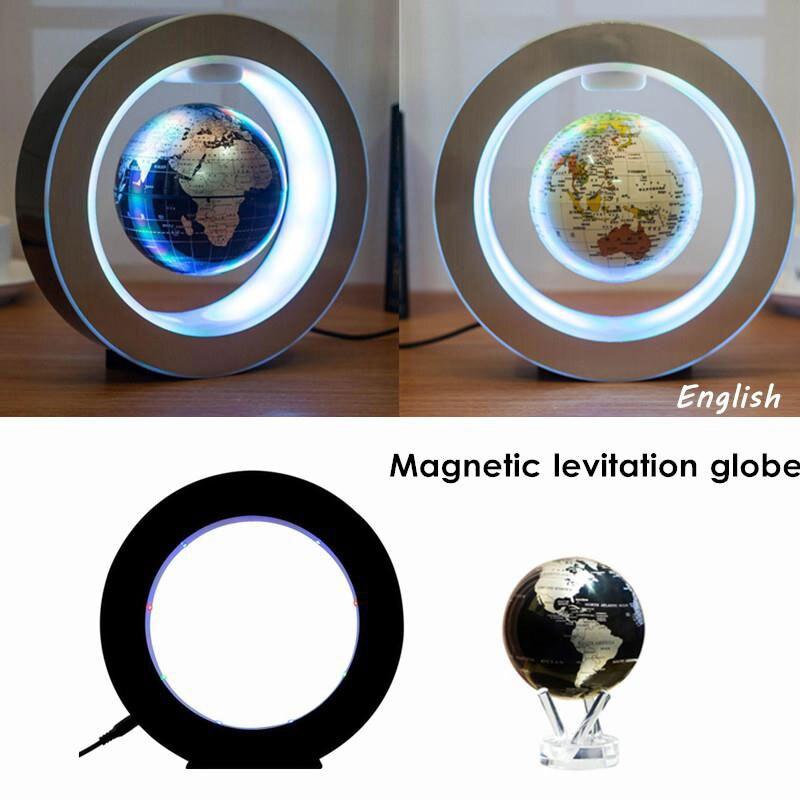 LED 2W 12V Magnetic Floating Globe World Map Ball Levitation Light Colorful Home Electronic Decor Lamp Gift EU Plug