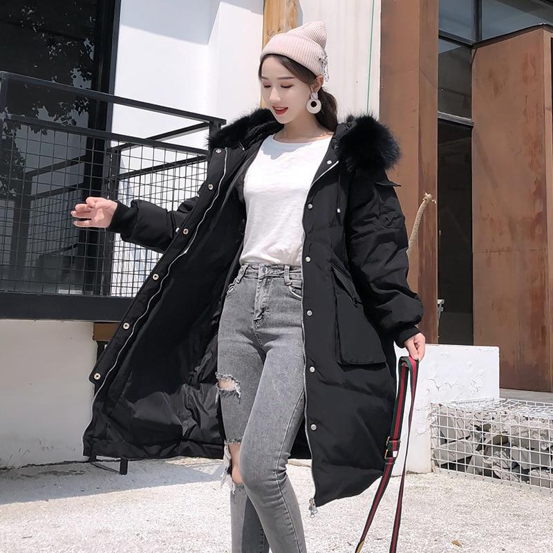 90% White Duck Down Jacket Women Raccoon Fur Collar Down Coat Winter Coat Women Puffer Jacket Parka Casacos 9607 YY1246