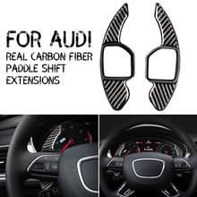 2 unids/set negro de fibra de carbono de paleta para Audi TT Q7 R8 A6 S4 volante