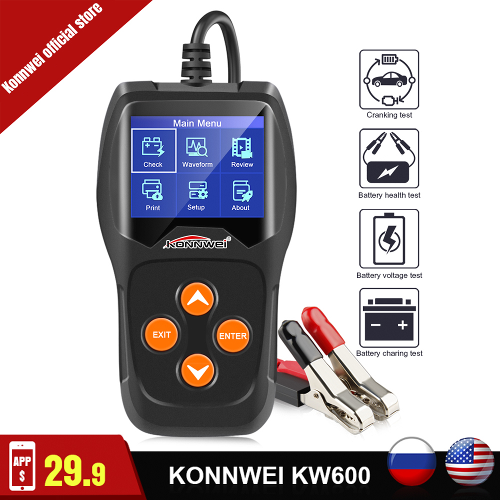 KONNWEI Car-Battery-Tester Charging-Diagnostic KW600 12-Volt For The-Car Quick-Cranking