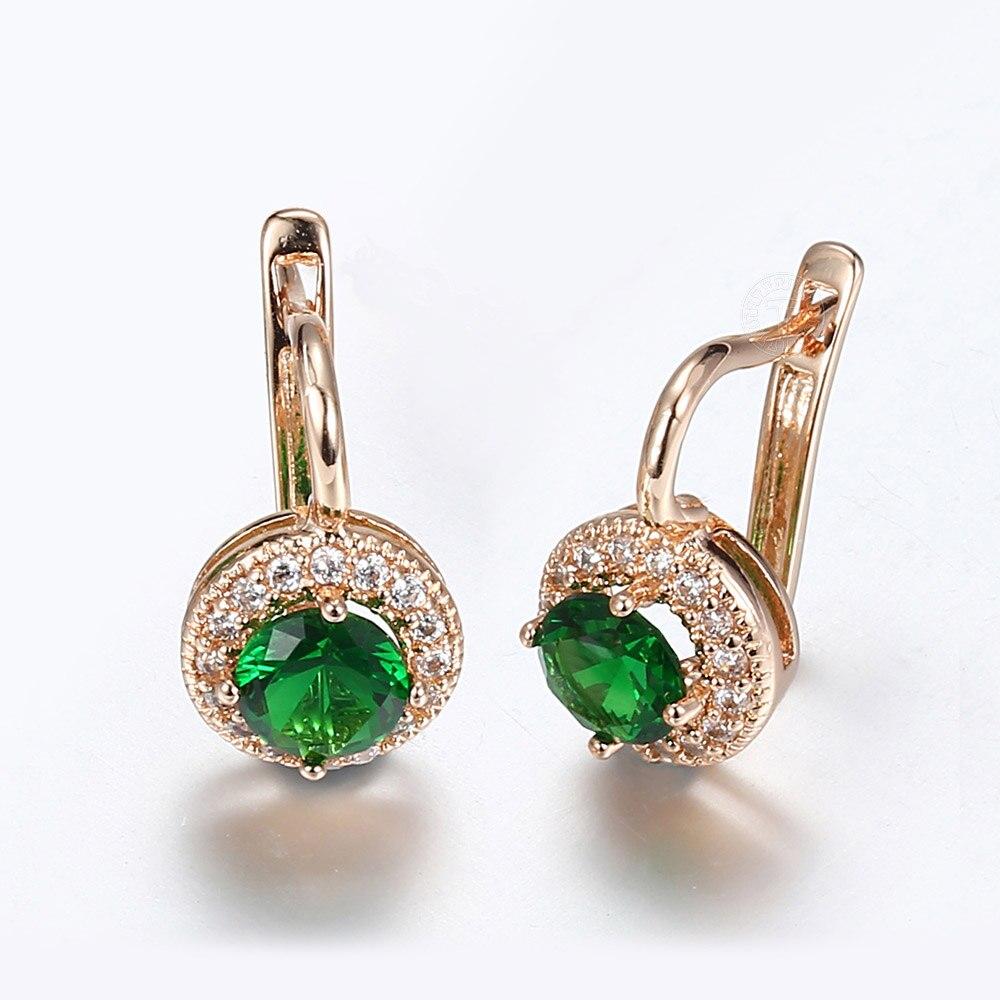 Rose Gold Color Earrings For Women Trendy Green Round Stone Cubic Zircon Drop Earrings White Geometric Luxury Jewelry GE278
