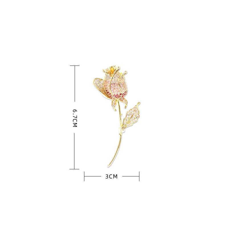 Vintage Golden Rose Jewelry Colorful Zicon Brooch Pin for Women Clothes Scarf Buckle Garment Accessories Fashion Jewelry-5