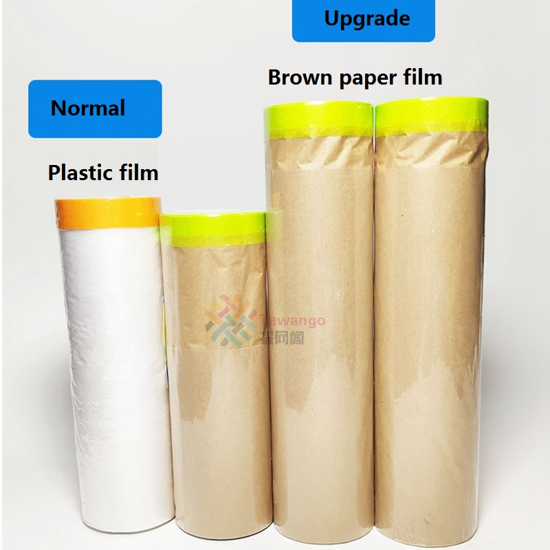 New Material Paint Protect Cover Spray Paint Masking Paper Plastic Kraft Paper Film Barrier Car Renovation Protective Tapes