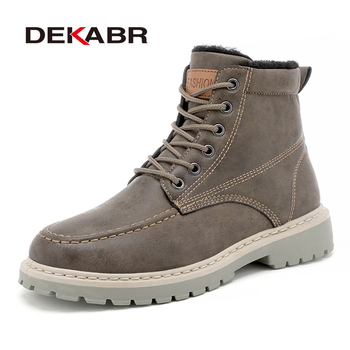 DEKABR Ankle Boots Men Leather Winter Boots Waterproof Fashion Motorcycle Boots Classic Britain Style Male Work Safty Shoes