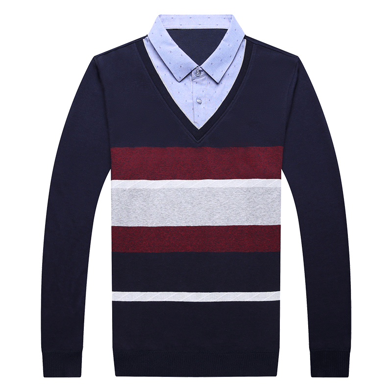FAVOCENT Men's Sweater Shirt-Collar V-Neck Knitted Long-Sleeve Warm Autumn Male Striped