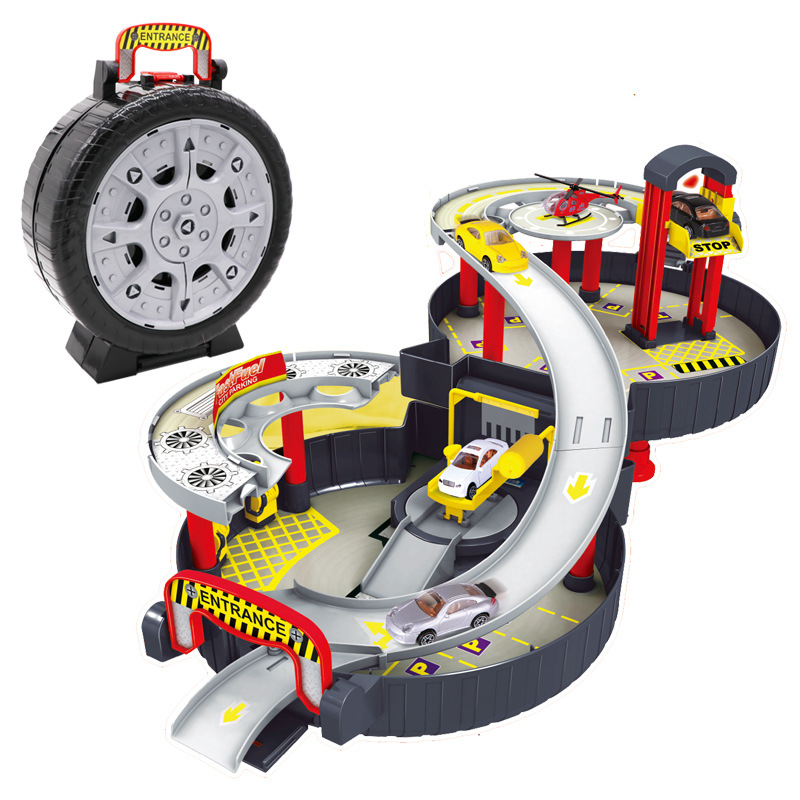 Literature And Art Toy W200 Tire Parking Lot Children Assembled Educational Science Toy Car Hand Rail Car Model