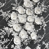 Ivory White Wedding Dress Lace Fabric, 3D Chiffon Flowers Nail Bead High End European Lace Fabric Free Shipping 1Yard RS142