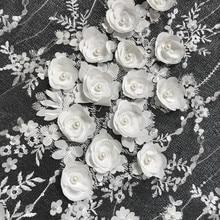 Ivory White Wedding Dress Lace Fabric, 3D Chiffon Flowers Nail Bead High End European Lace Fabric Free Shipping 1Yard RS142
