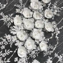 Tela de encaje de vestido blanco marfil de boda, tela de encaje europeo de alta gama de cuentas de uñas de flores de Gasa 3D envío gratis 1 yarda RS142