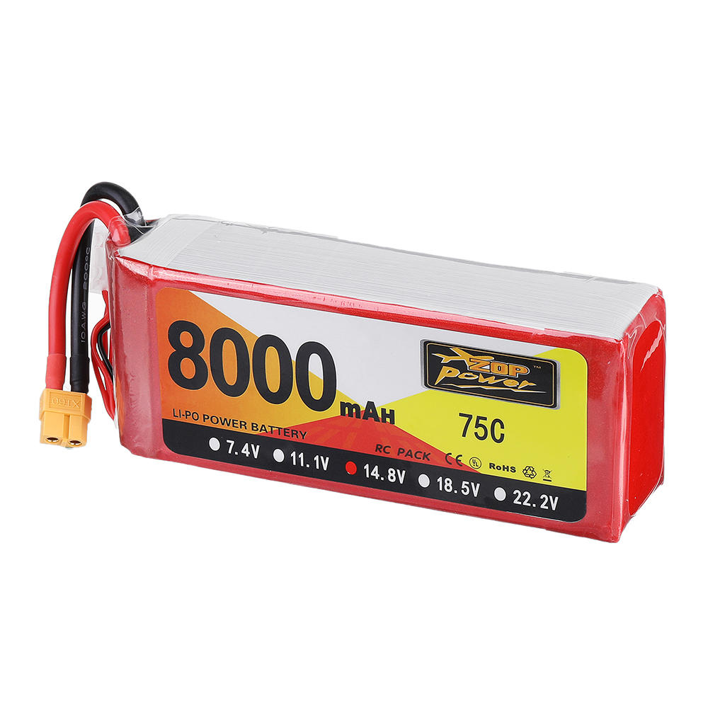 ZOP Power 14.8V 8000mAh 75C 4S Lipo Battery XT60 Plug For RC Model RC FPV Drone Airplane Helicopter Car Boat