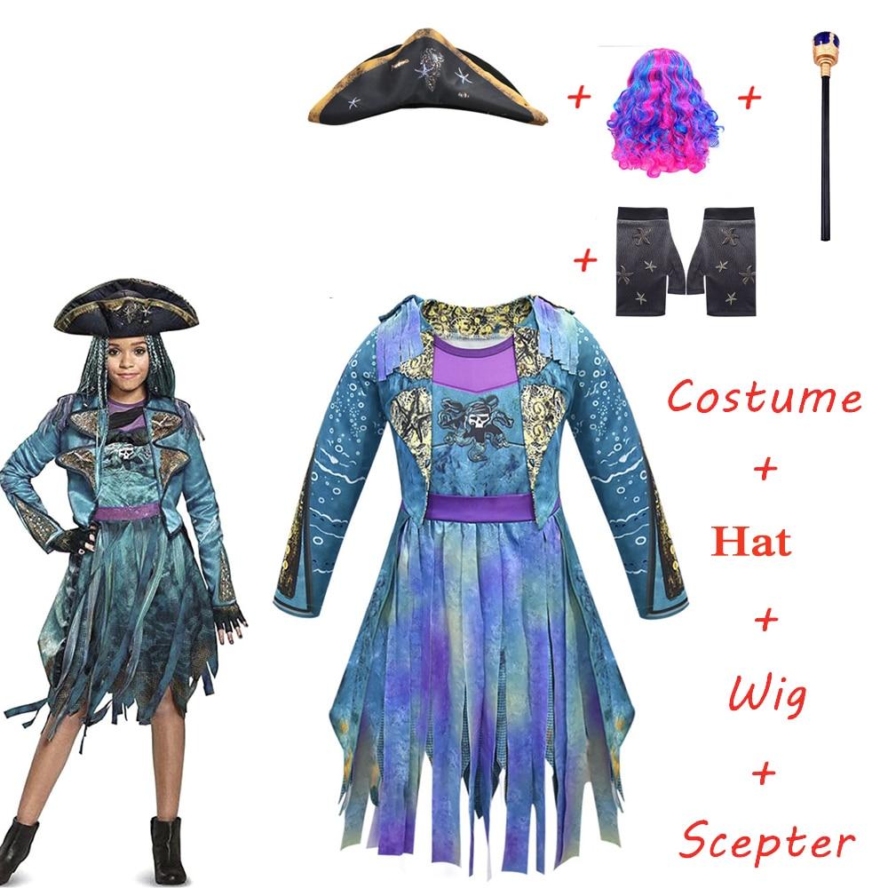 2020 novos descendentes cosplay 3 uma ursula menina traje pirata azul arco-íris peruca halloween carnaval maquiagem festa traje prop