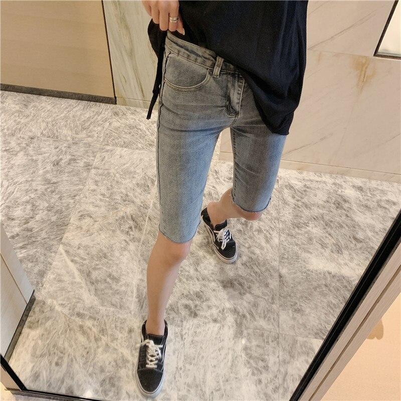 Summer High Waist Skinny Jeans for Women Knee Length Denim Capri Women's Pants Jeans Knee Length Pants Trousers