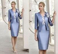 Elegant Appliqued Lace Mother Of The Bride Dresses With Jacket Knee Length Sheath Mother Dress Formal Women Wear Custom Made