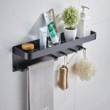 LIUYUE полки для ванной комнаты черный/серебристый Космический алюминиевый многофункциональный настенный держатель для ванной комнаты крючки для чашек полка для хранения держатель для полотенец