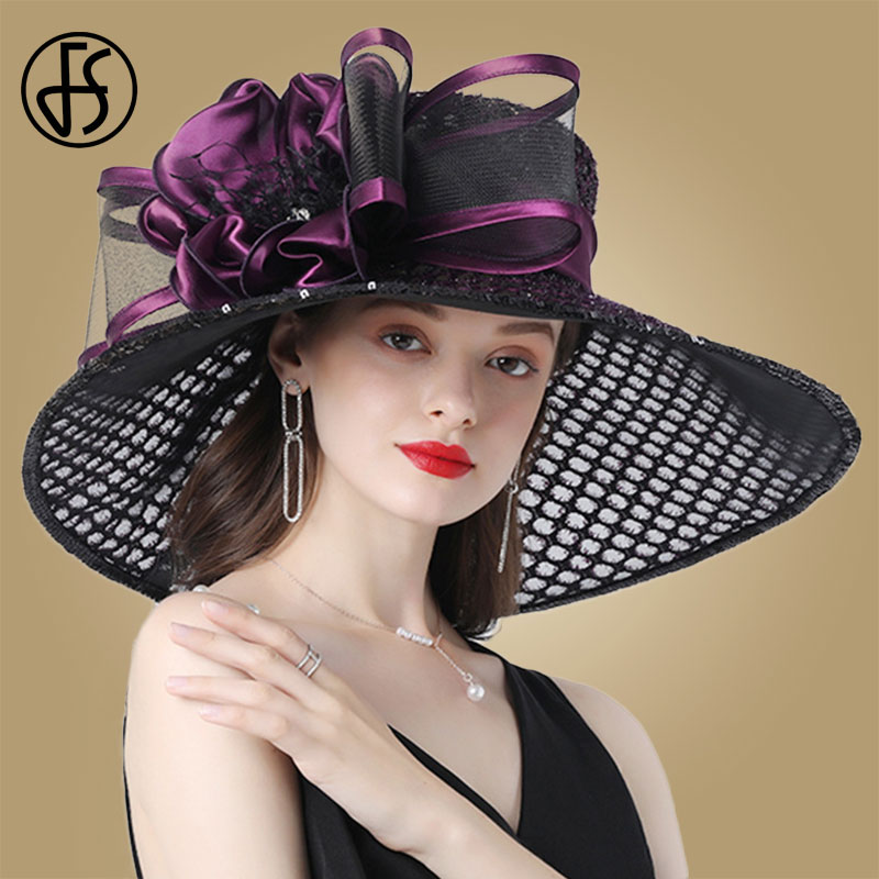 FS Purple Ladies Fascinator Hats Wedding Kentucky Derby Hats For Women Flower Hats Large Wide Brim Fedora Organza Hat Church