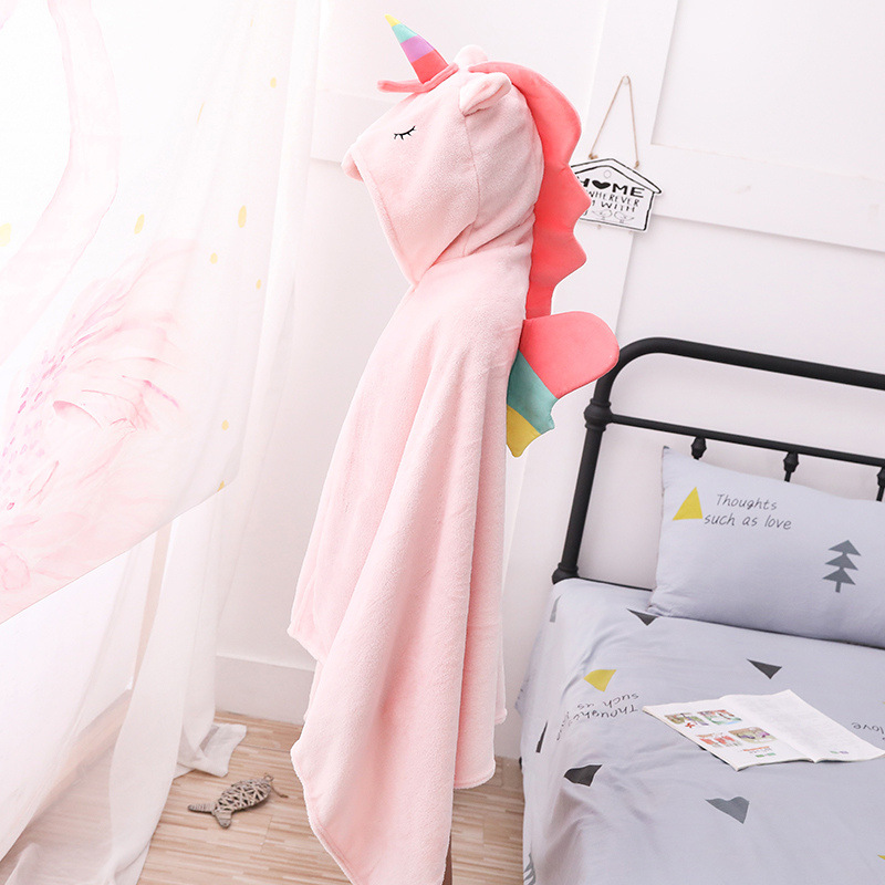 Unicorn Fleece Blanket Hooded Blanket Bed Sofa TV Throw Blankets Cartoon Hoodie Blanket Sweatshirt Christmas Gift for Children 16