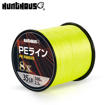 Hunthous braided line 8 strands cores pe fishing multifilament wicker cord string 300m 500m 1000m for bass