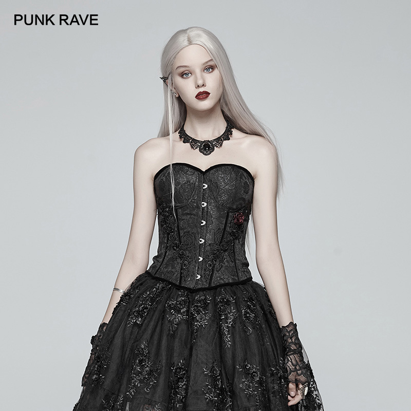 Corset Sexy à la mode PUNK gothique victorien pour femmes en Jacquard noir avec décoration Rose rouge Corset Club Corselets Steampunk