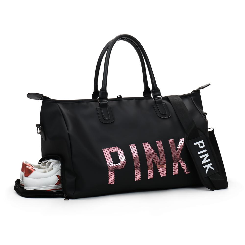 2018 Sequins Black Women Gym Bag Fitness Travel Handbag Outdoor Separate Space For Shoes Sac Sports Women's Bag