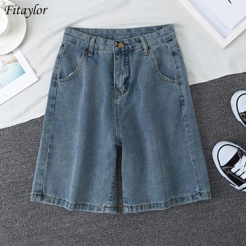 Fitaylor 2020 New Summer Women High Waist Blue Wide Leg Denim Shorts Casual Female Solid Streetwear Stright Jeans Bermuda Shorts|Shorts| - AliExpress