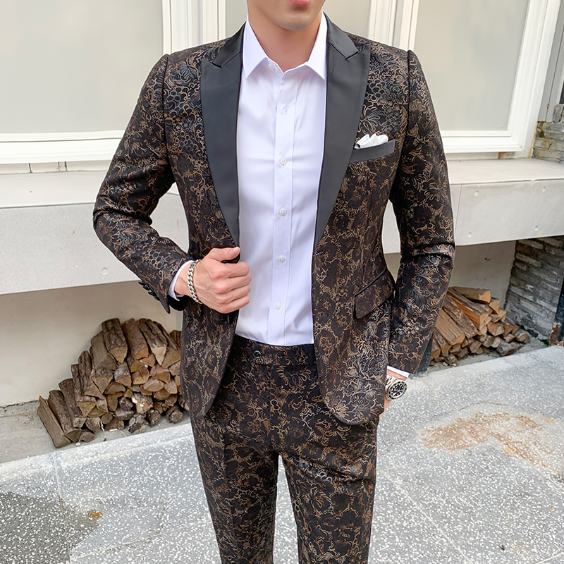 Luxury Suit Christmas New Design Mens Stylish Floral Pattern Suits Stage Singer Wedding Groom Tuxedo Costume S-5XL