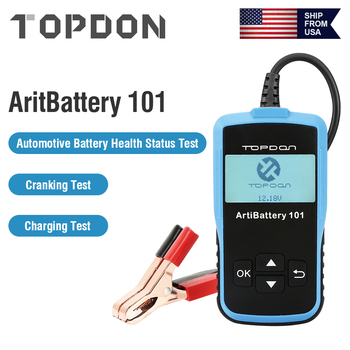 TOPDON ArtiBattery 101 Smart 12V Battery Tester Auto Car Battery Test Digital Battery Analyzer Battery Scanner Diagnostic Tool 12v portable car battery charging tester battery life percent analyzer for car truck boat battery system test