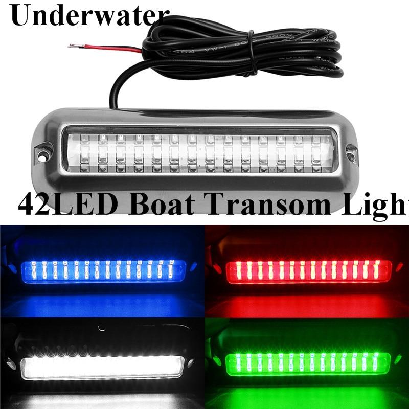 Hot 42 LED Underwater Boat Transom Light Stainless Steel Under Water Pontoon Waterproof Lamp Marine Hardware Yacht Boat Parts