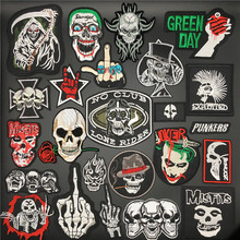 Punk Skull Patches Badges Stirpes for Clothes Embroidered Patches Iron on Stickers