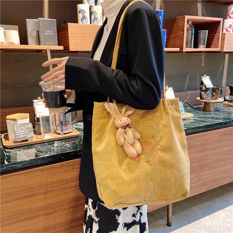 Hylhexyr Student Shoulder Bag Corduroy Handbag