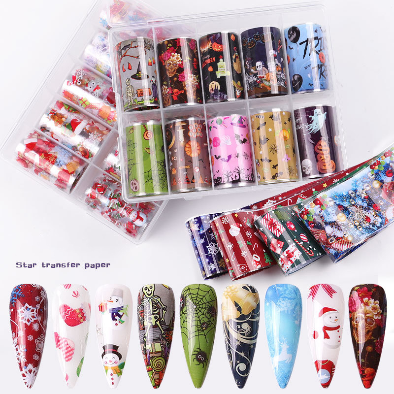 10 pcs Christmas Halloween Decorations for Nails Mix Colorful Transfer Nail Foil Sticker Snow Flower pumpkin Elk Gift Santa DIY|Stickers & Decals|   - AliExpress