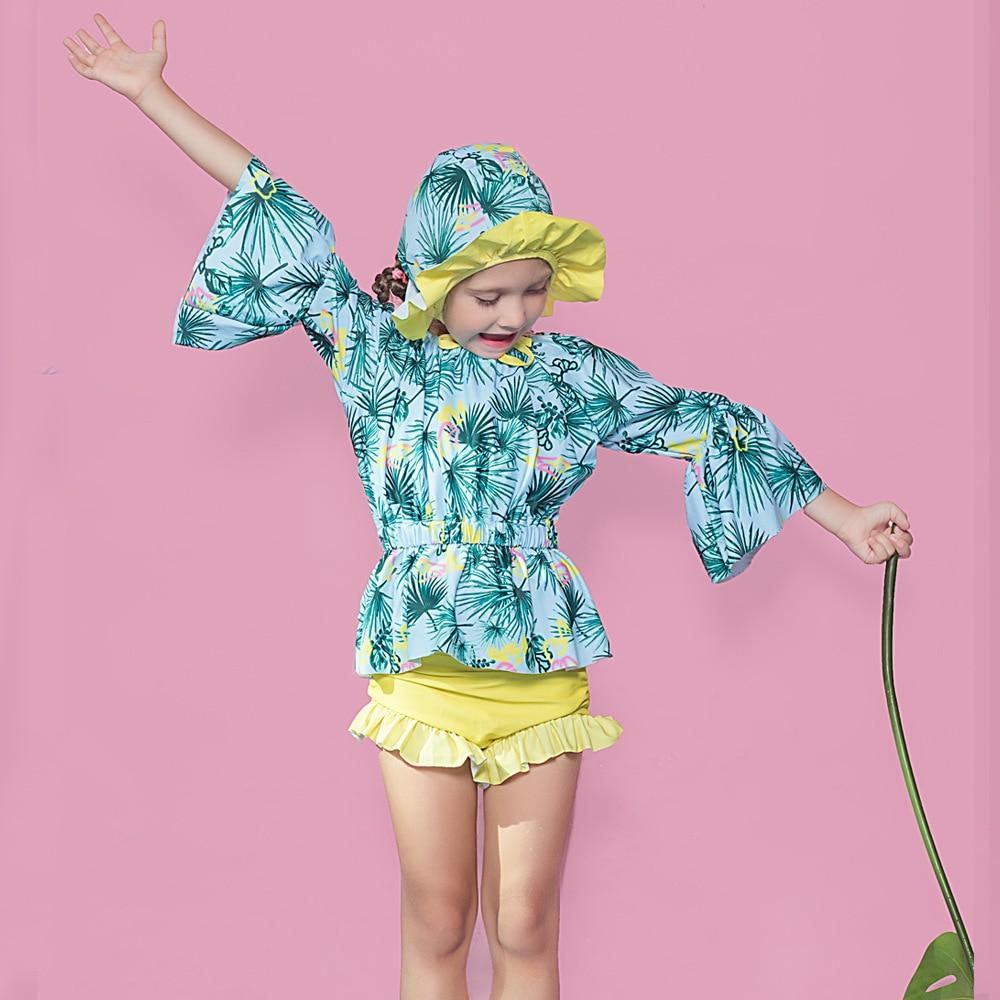 New Style Baby Girls Cute Hot Springs Split Type Bikini Swimsuit Bow Swimwear Olive Flower 2034
