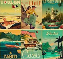 Vintage Art Painting New York London Italy TAHITI Retro Posters viajes ciudades paisaje póster arte de la pared(China)