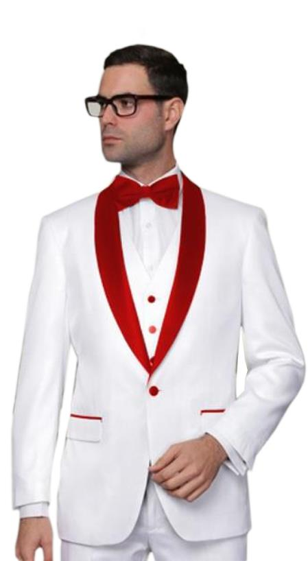 Groom Wedding  Suits For Men Suit White With Red Collar 2020 Tuxedo For Man